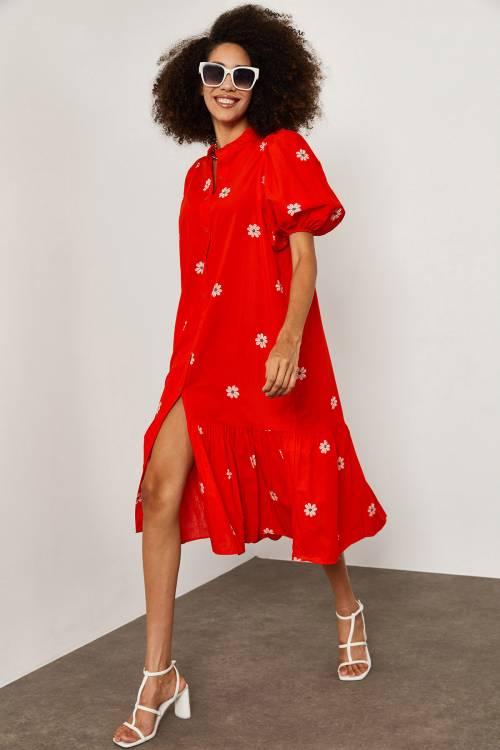XHAN - Kırmızı Papatya Desenli Elbise 1YXK6-45252-04