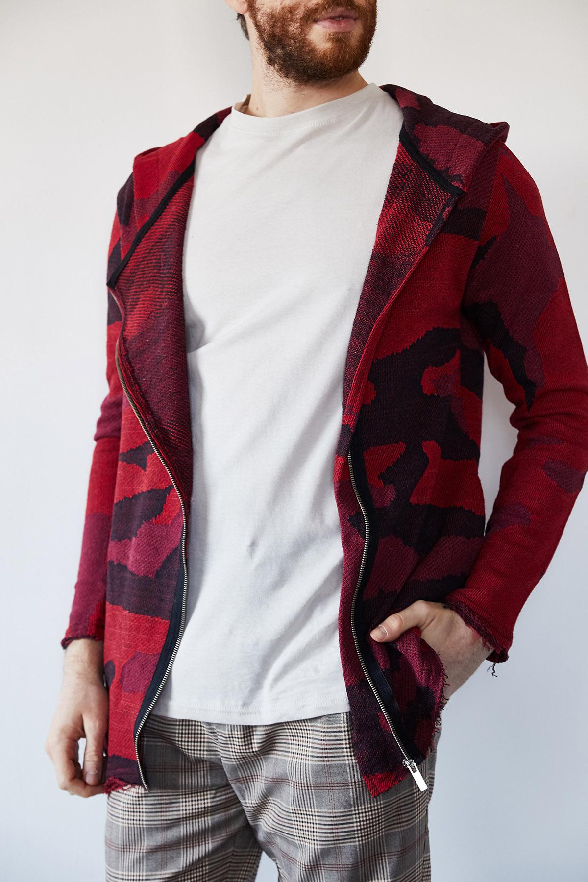 - Kırmızı & Siyah Asimetrik Fermuarlı Ceket 1KXE8-44248-04