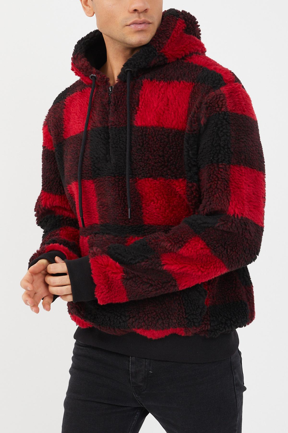 XHAN - Kırmızı Siyah Ekoseli Peluş Sweatshirt 1KXE8-44478-04