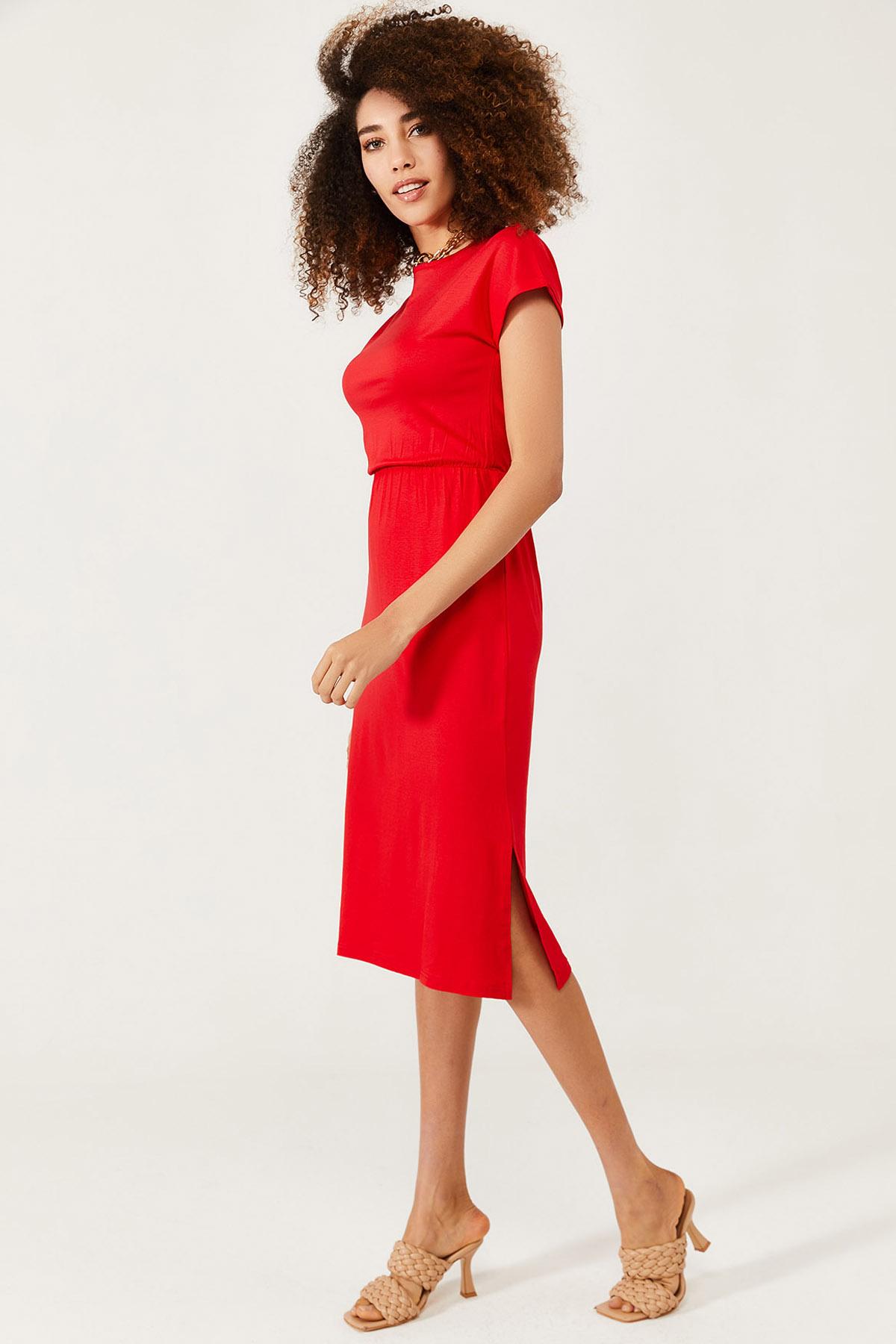 XHAN - Kırmızı Yumuşak Dokulu Esnek Yırtmaçlı Elbise 1KXK6-44569-04