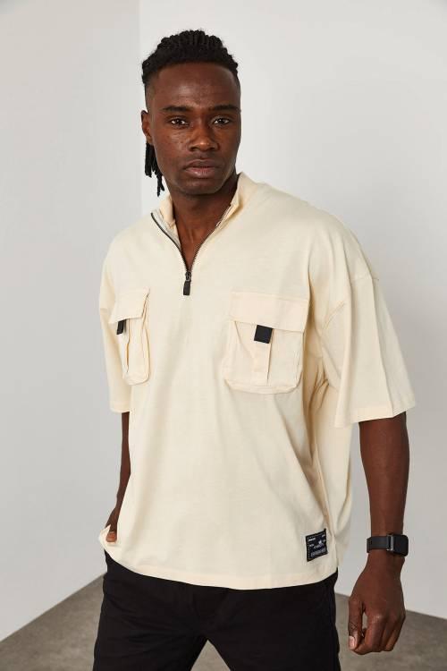 XHAN - Krem Fermuar & Cep Detaylı Oversize T-Shirt 1YXE1-45085-22