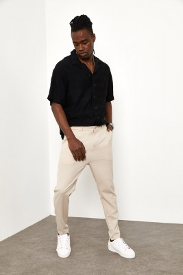 XHAN - Krem Oversize Kumaş Pantolon 1YXE5-44981-22