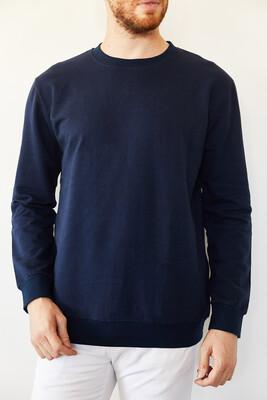 XHAN - Lacivert Bisiklet Yaka İki İplik Şardonsuz Basic Sweatshirt 0YXE8-44092-14
