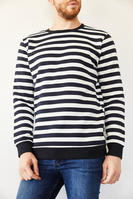 XHAN - Lacivert Bsiklet Yaka Çizgili Üç İplik Şardonlu Sweatshirt 0YXE8-44105-14