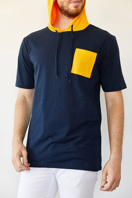 XHAN - Lacivert Cep Detaylı Kapüşonlu T-Shirt 0YXE8-44091-14