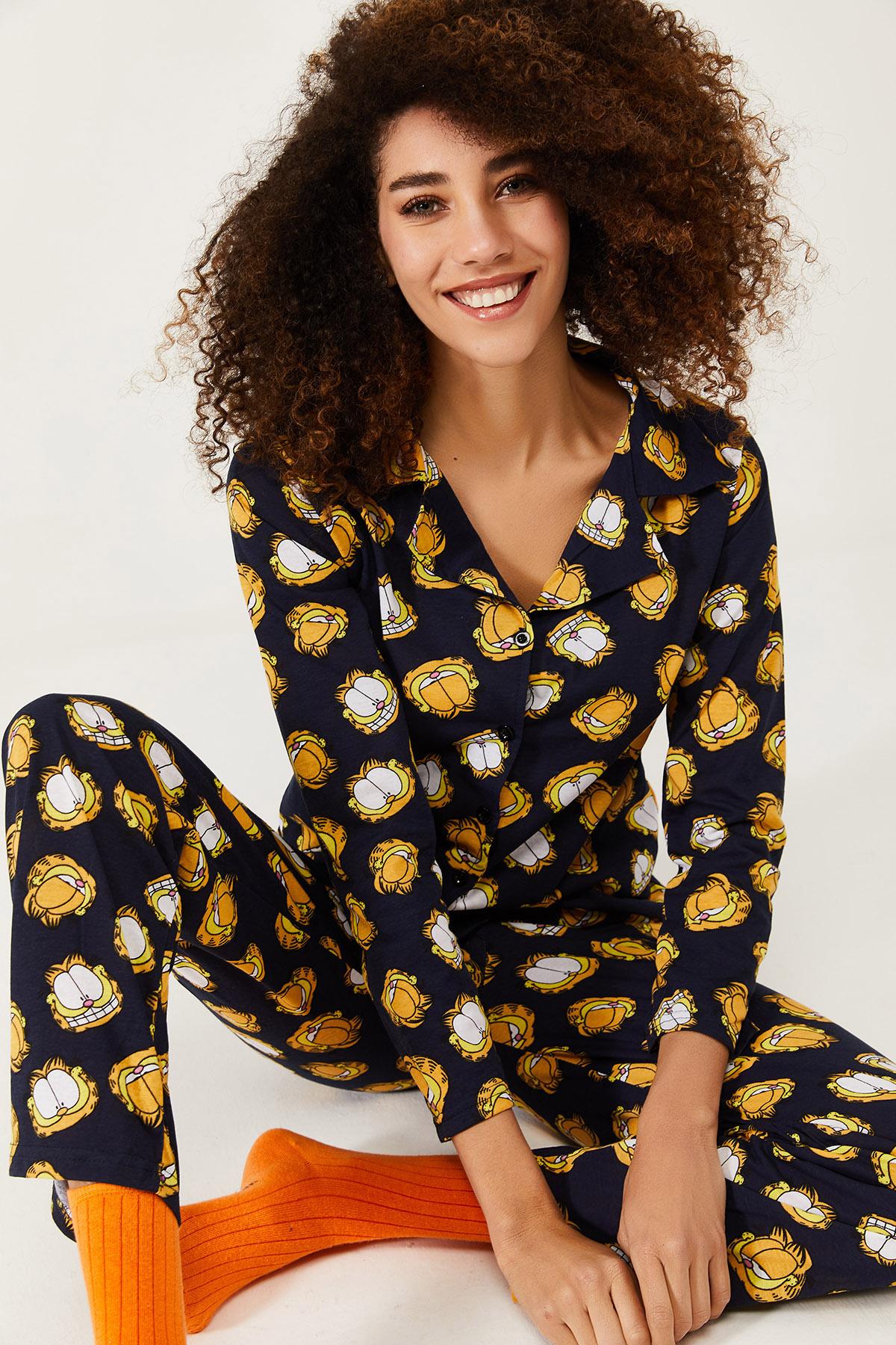 XHAN - Lacivert Garfield Baskılı Örme Pijama Takımı 1KXK8-44580-14
