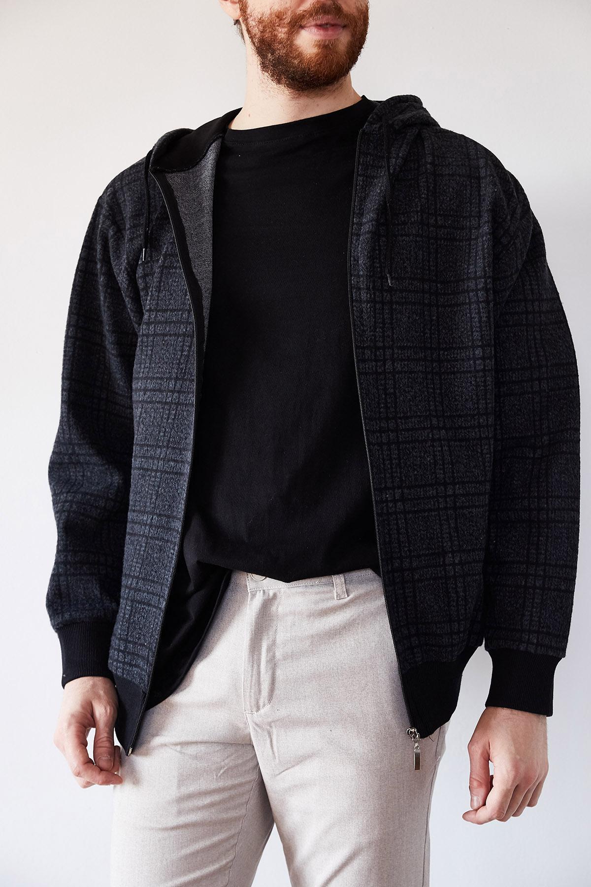 - Lacivert & Siyah Yün Ekoseli Fermuarlı Kepüşonlu Ceket 1KXE8-44247-14
