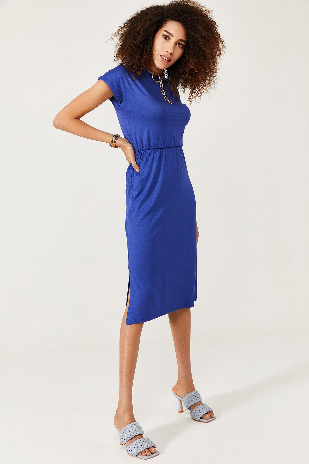 XHAN - Lacivert Yumuşak Dokulu Esnek Yırtmaçlı Elbise 1KXK6-44569-14