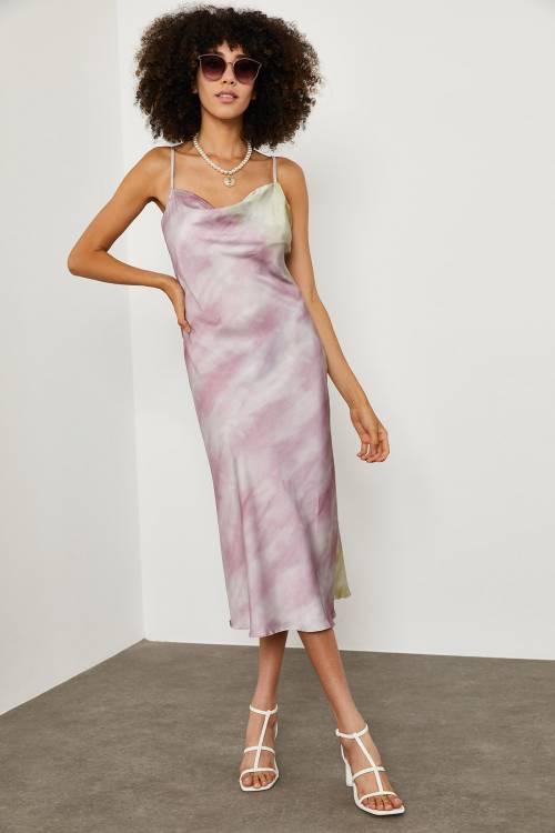 XHAN - Lila Batik Desenli Saten Elbise 1YXK6-45004-26