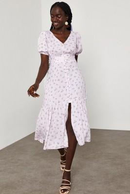XHAN - Lila Çiçek Desenli Karpuz Kol Elbise 1YXK6-45065-26