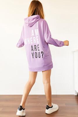 XHAN - Lila Sırt Baskılı Sweatshirt Elbise 0YXK8-44006-26