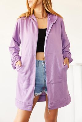 XHAN - Lila Uzun Fermuarlı Sweatshirt 0YXK8-44010-26