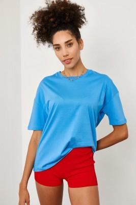 XHAN - Mavi Basic T-Shirt 1YXK1-45194-12