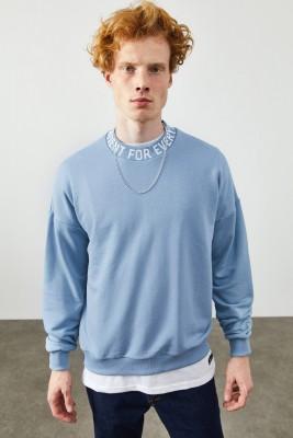 XHAN - Mavi Bisiklet Yaka Yazı Detaylı Sweatshirt 2KXE8-45357-12