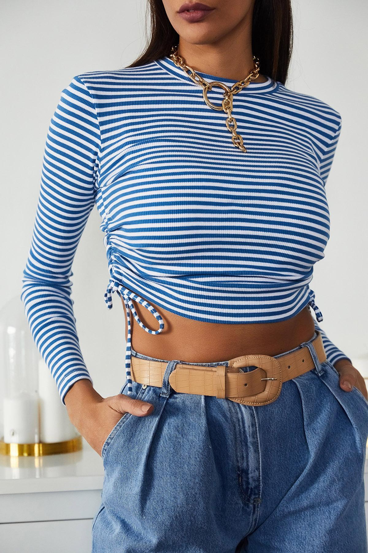 XHAN - Mavi Büzgülü Çizgili Bluz 1KXK2-44717-12