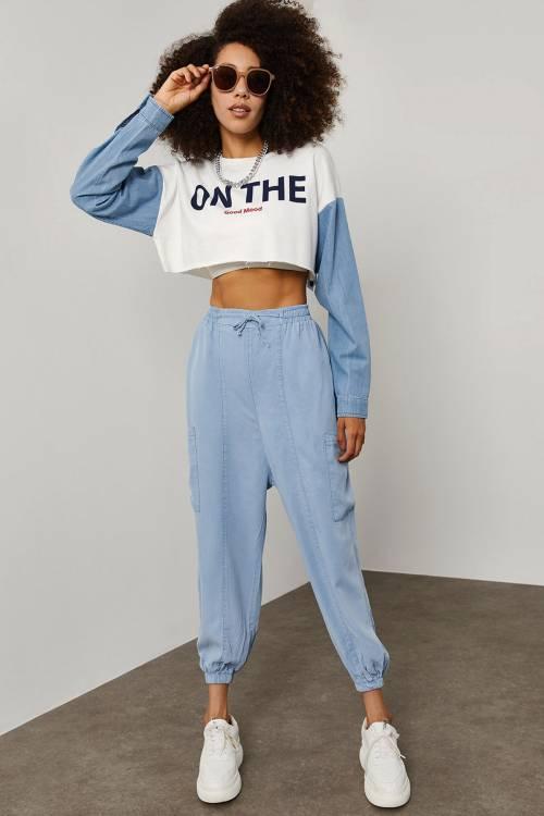 XHAN - Mavi Cep Detaylı Şalvar Pantolon 1YXK5-45271-12