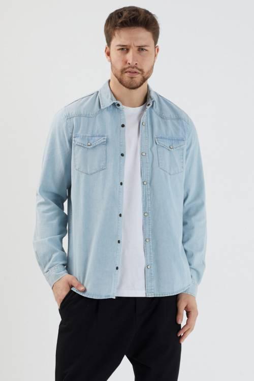 XHAN - Mavi Çift Cepli Çıtçıtlı Kot Gömlek 1YXE2-44995-12