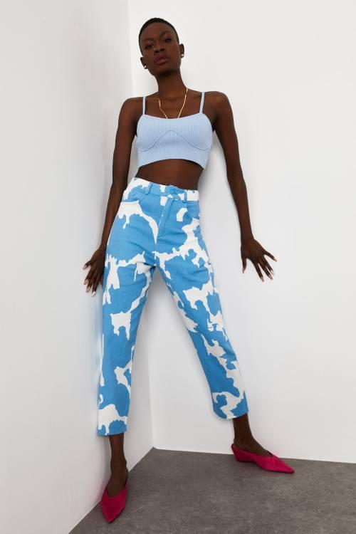 XHAN - Mavi Cow Desenli Pantolon 1KXK5-44781-12
