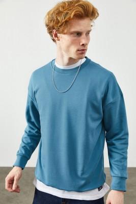 XHAN - Mavi Düz Sweatshirt 2KXE8-45349-12