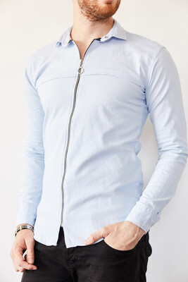 XHAN - Mavi Fermuarlı Slim Fit Gömlek 0YXE2-44038-12