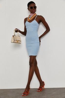XHAN - Mavi Göğüs Detaylı Kaşkorse Elbise 1YXK6-45039-12
