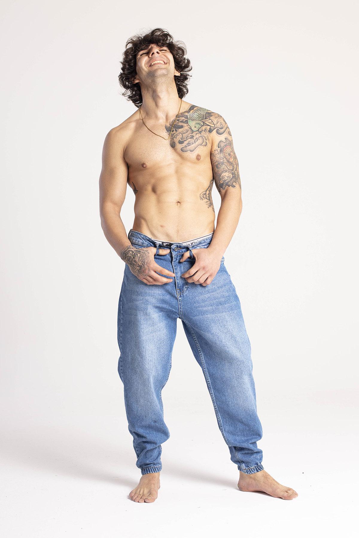 XHAN - Mavi Jogger Kot Pantolon 1KXE5-44670-12