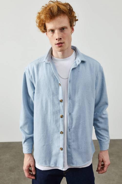 XHAN - Mavi Kaşe Düğmeli Gömlek 2KXE2-45336-12