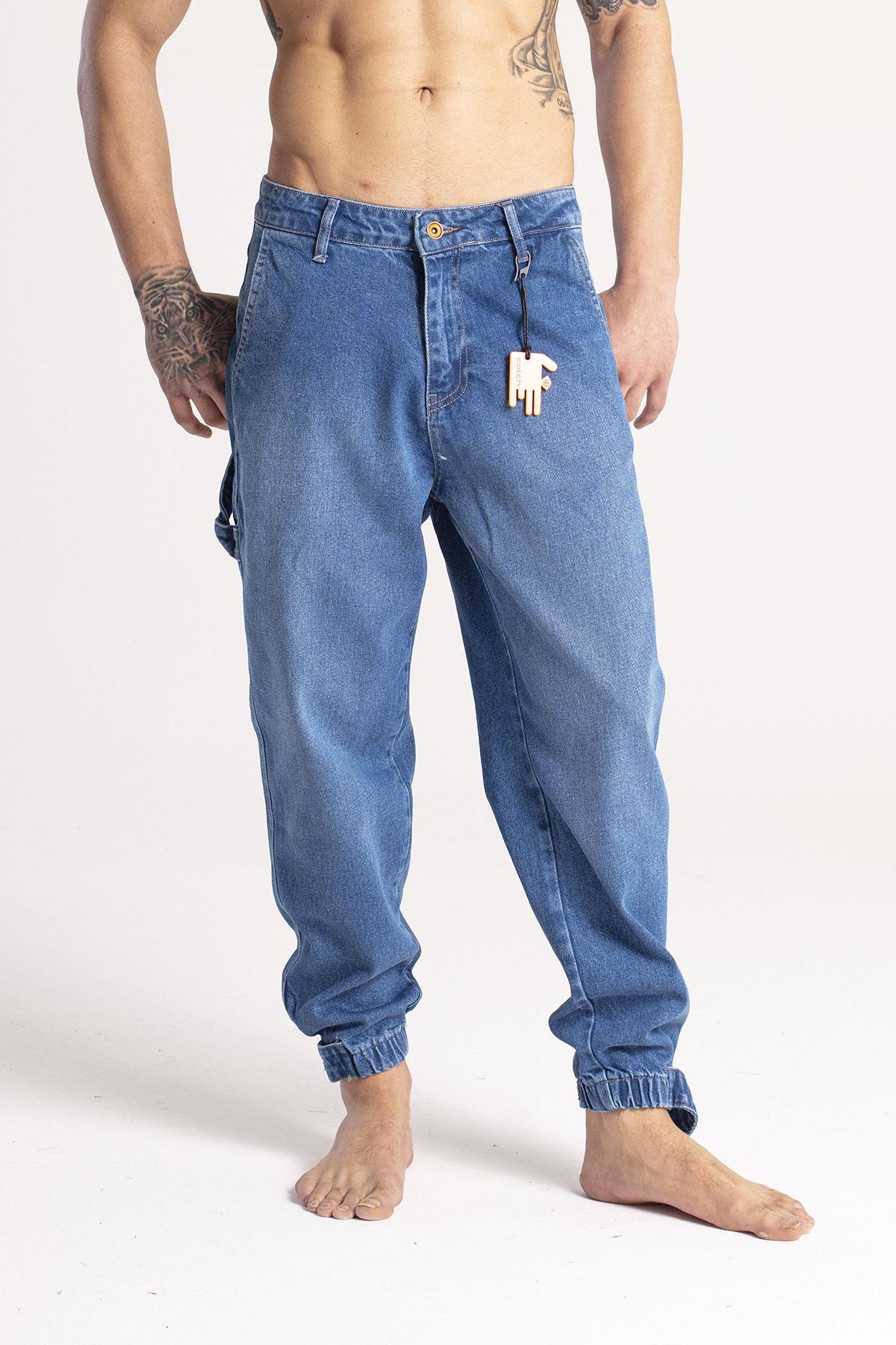 XHAN - Mavi Paçası Bantlı Jogger Kot Pantolon 1KXE5-44668-12