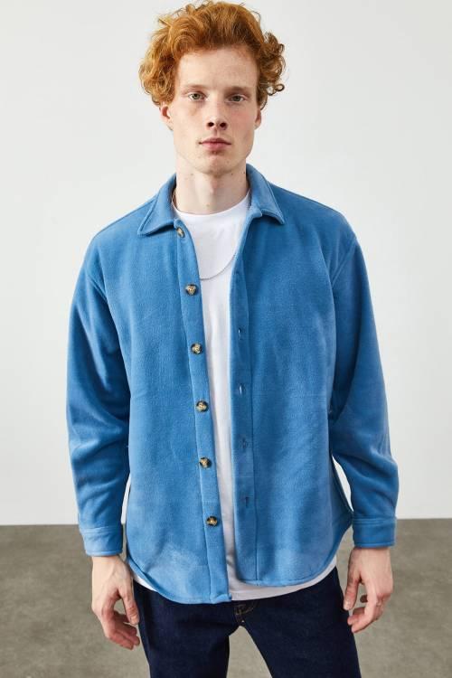 XHAN - Mavi Polar Düğmeli Gömlek 2KXE2-45335-12