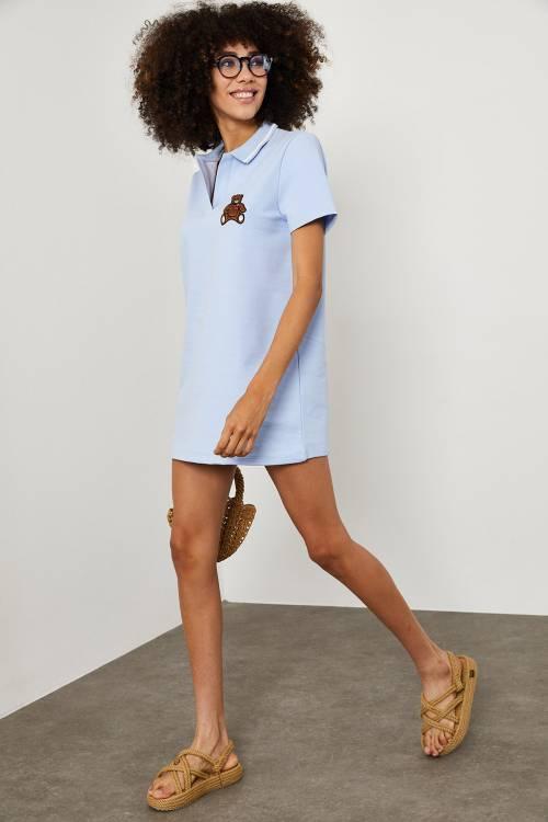 XHAN - Mavi Polo Yaka Ayııcık Baskılı Elbise 1YXK6-45144-12