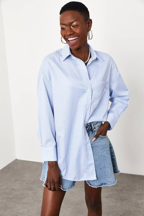 XHAN - Mavi Yaka ve Kolu Taş Detaylı Çizgili Gömlek 1KXK2-44822-12