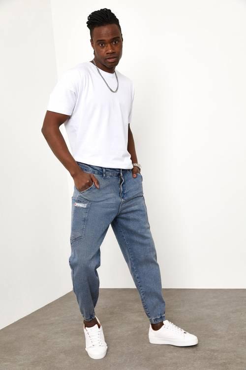 XHAN - Mavi Yandan Cepli Jogger Pantolon 1YXE5-44987-12