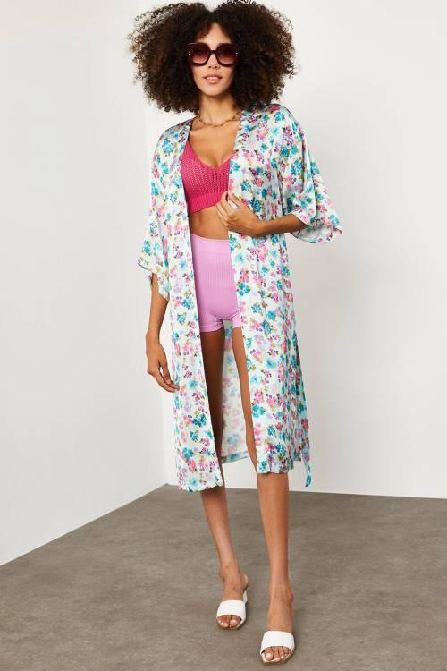 XHAN - Mint Desenli Kimono 1YXK2-45207-58