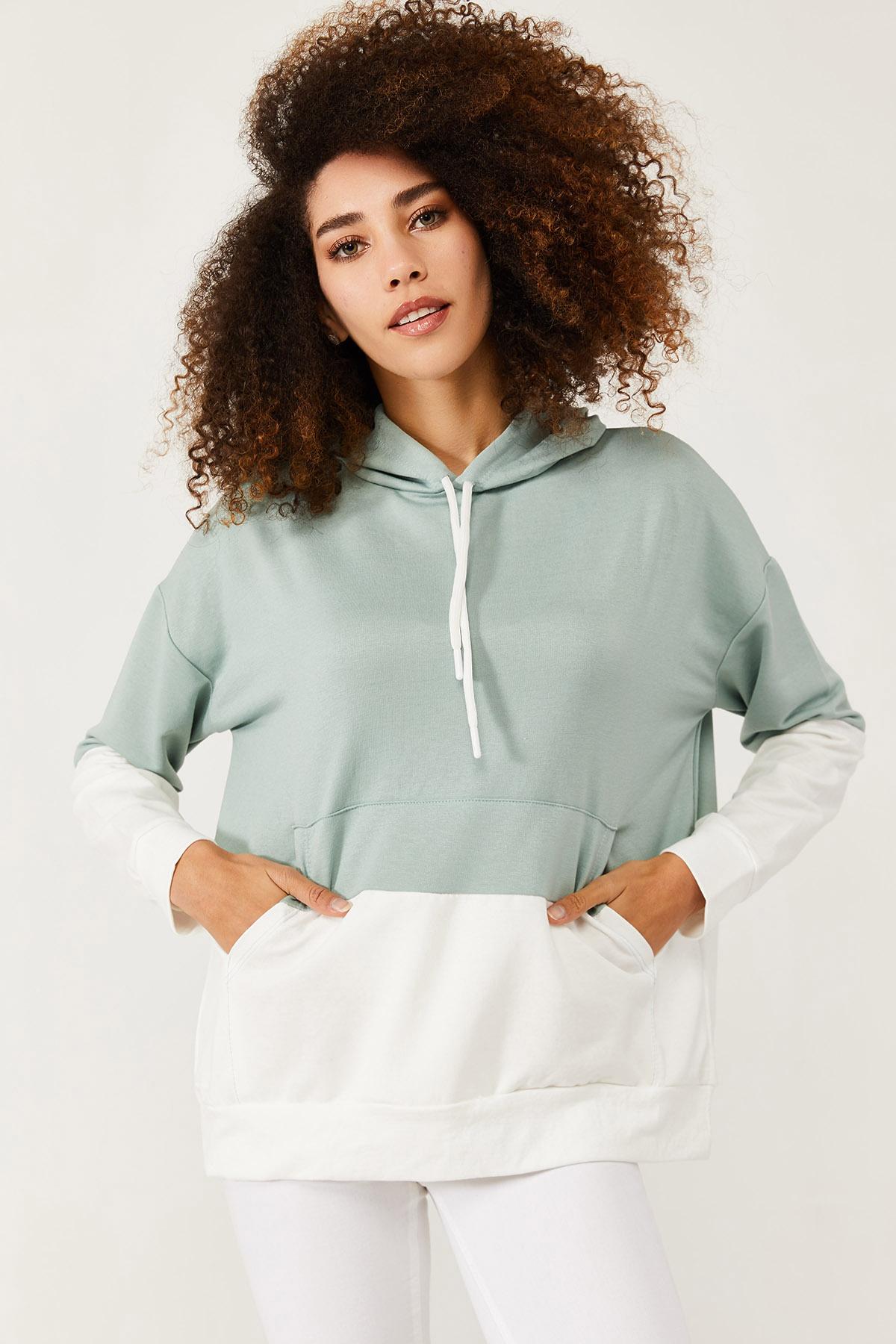 XHAN - Mint Parçalı Sweatshirt 1KXK8-44575-58
