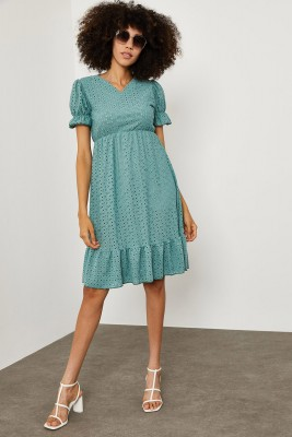 XHAN - Mint Yeşili Karpuz Kol V Yaka Elbise 1YXK6-45143-27