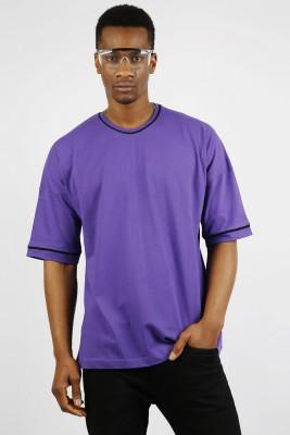XHAN - Mor Biye Detaylı Oversize T-Shirt 1YXE1-44913-06