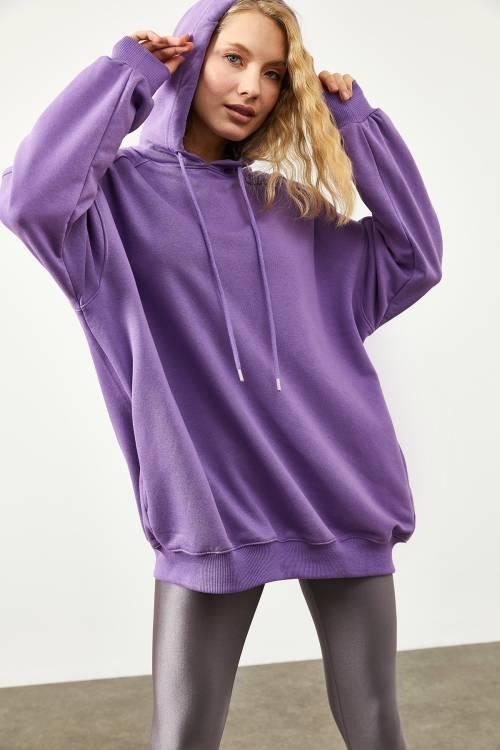 XHAN - Mor Cepli Oversize Sweatshirt 2KXK8-45508-06