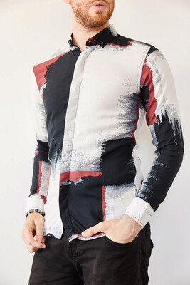 XHAN - Multi Baskılı Slim Fit Gömlek 0YXE2-44026-02