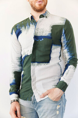 XHAN - Multi Baskılı Slim Fit Gömlek 0YXE2-44026-08