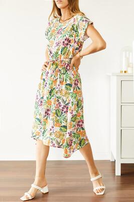 XHAN - Multi Beli Lastikli Asimetrik Çiçek Desenli Elbise 0YXK6-43868-52