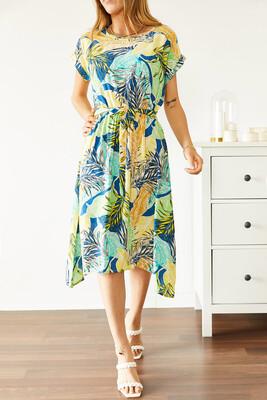XHAN - Multi Beli Lastikli Asimetrik Çiçek Desenli Elbise 0YXK6-43869-12