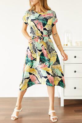 XHAN - Multi Beli Lastikli Asimetrik Çiçek Desenli Elbise 0YXK6-43870-08