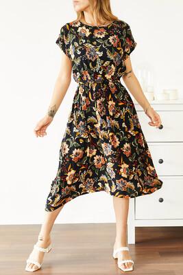 XHAN - Multi Beli Lastikli Asimetrik Çiçek Desenli Elbise 0YXK6-43871-02
