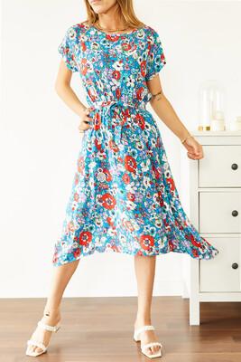 XHAN - Multi Beli Lastikli Asimetrik Çiçek Desenli Elbise 0YXK6-43872-12