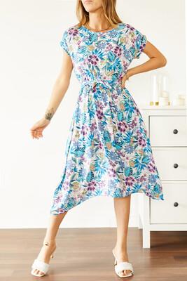 XHAN - Multi Beli Lastikli Asimetrik Çiçek Desenli Elbise 0YXK6-43872-52