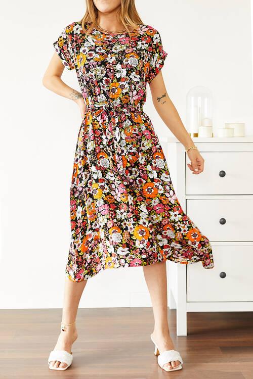 XHAN - Multi Beli Lastikli Asimetrik Çiçek Desenli Elbise 0YXK6-43873-10