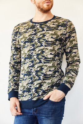 XHAN - Multi Bsiklet Yaka Kamuflaj Desenli Şardonsuz İki İplik Sweatshirt 0YXE8-44102-14