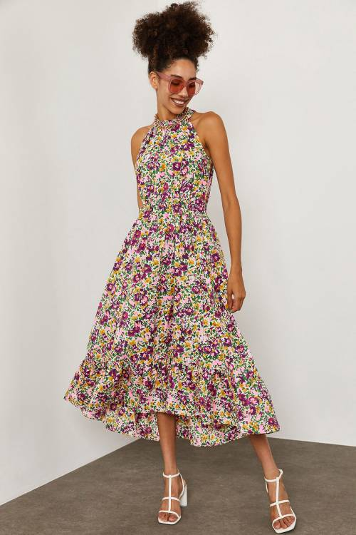XHAN - Multi Çiçek Desenli Elbise 1YXK6-45257-01