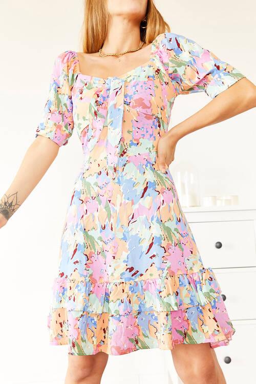 XHAN - Multi Desenli Mini Elbise 0YXK6-43962-52