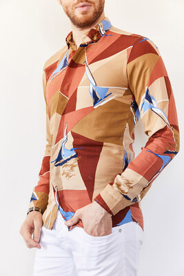 XHAN - Multi Desenli Slim Fit Gömlek 0YXE2-44035-18
